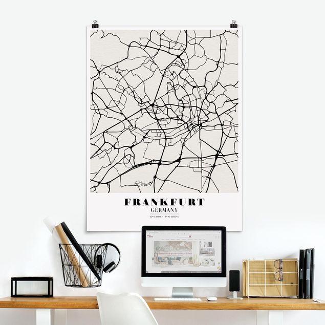 Poster - Stadtplan Frankfurt - Klassik - Hochformat 3:4
