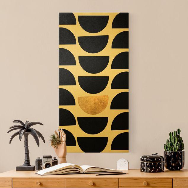 Leinwandbild Gold - Geometrischer Halbkreis II - Hochformat 1:2
