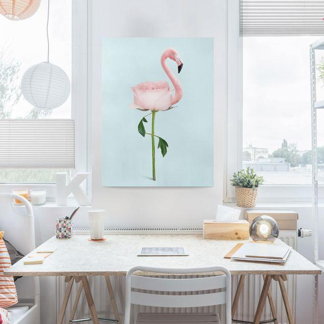 Leinwandbild - Jonas Loose - Flamingo mit Rose - Hochformat 4:3