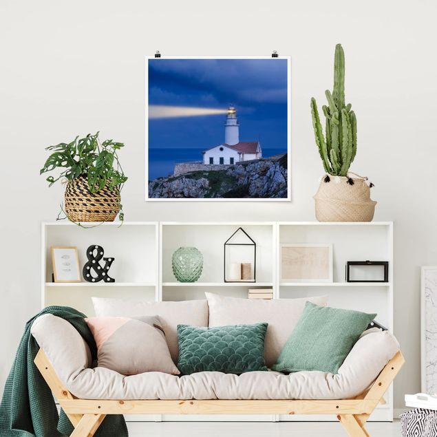 Poster - Lighthouse At Far De Capdepera - Quadrat 1:1
