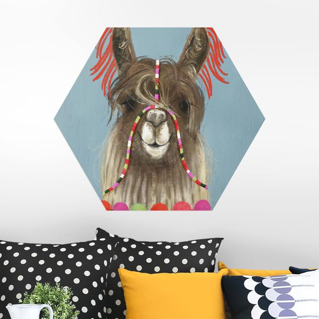 Hexagon Bild Alu-Dibond - Lama mit Schmuck I