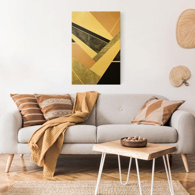 Leinwandbild Gold - Goldene Geometrie - Rosa Schwarz - Hochformat 2:3