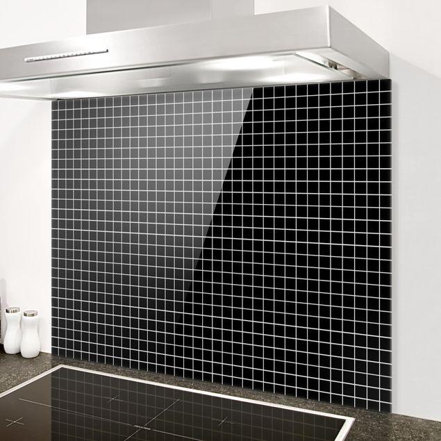 Glas Spritzschutz - Mosaikfliesen Schwarz Matt - Querformat - 4:3