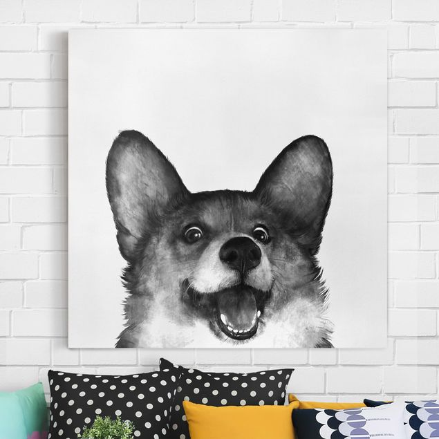 Leinwandbild - Illustration Hund Corgi Weiß Schwarz Malerei - Quadrat 1:1