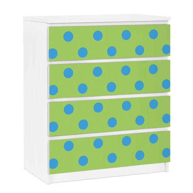 Möbelfolie für IKEA Malm Kommode - selbstklebende Folie No.DS92 Punktdesign Girly Grün