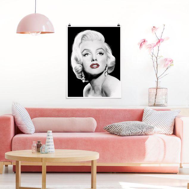 Poster - Marilyn mit Ohrschmuck - Hochformat 3:4