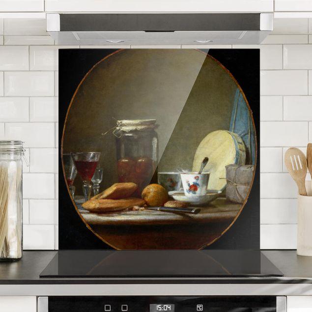 Glas Spritzschutz - Jean-Baptiste Siméon Chardin - Glas mit Aprikosen - Quadrat - 1:1