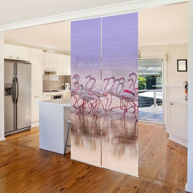 Schiebegardinen Set - Flamingo Party - Flächenvorhang