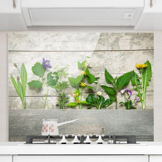 Glas Spritzschutz - Heil und Wiesenkräuter - Querformat - 4:3