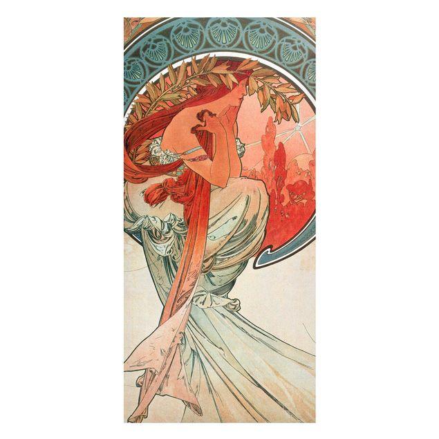 Magnettafel - Alfons Mucha - Vier Künste - Die Poesie - Memoboard Panorama Hochformat 2:1