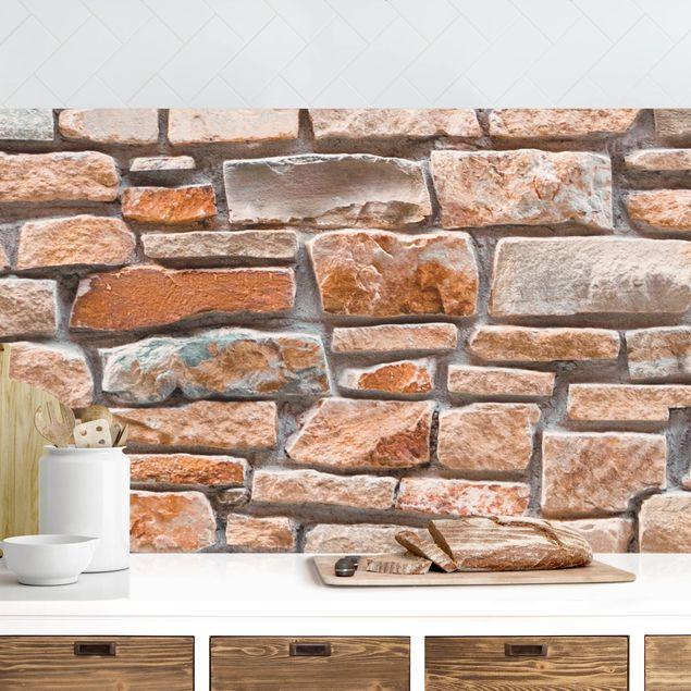 Küchenrückwand - Steinoptik rot türkis
