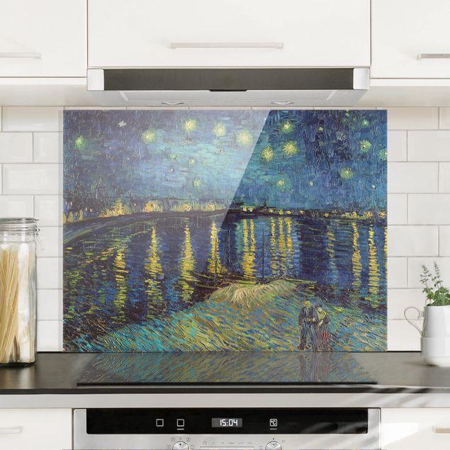 Glas Spritzschutz - Vincent van Gogh - Sternennacht über der Rhône - Querformat - 4:3