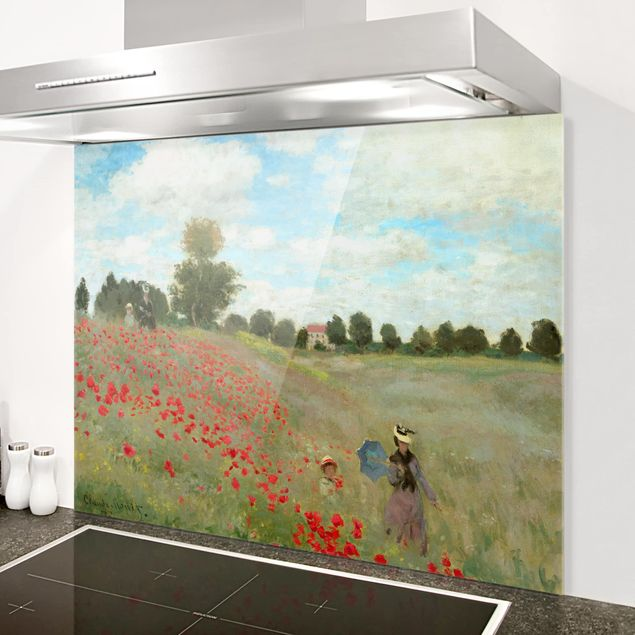 Glas Spritzschutz - Claude Monet - Mohnfeld bei Argenteuil - Querformat - 4:3