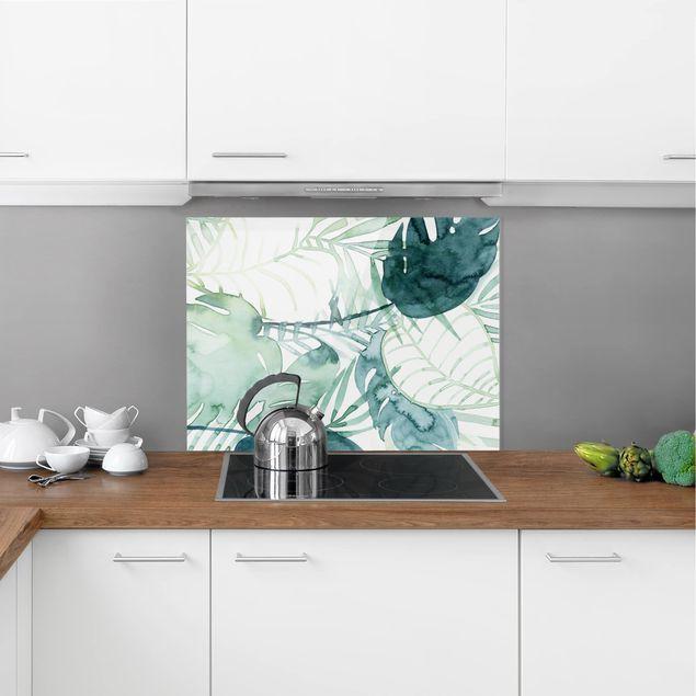 Glas Spritzschutz - Palmwedel in Wasserfarbe II - Querformat - 4:3