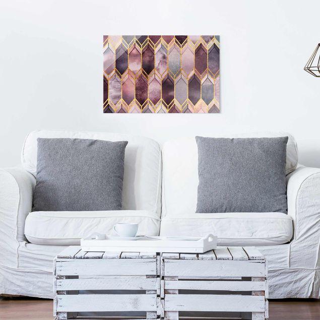 Glasbild - Glasmalerei geometrisch Rosé Gold - Querformat 2:3