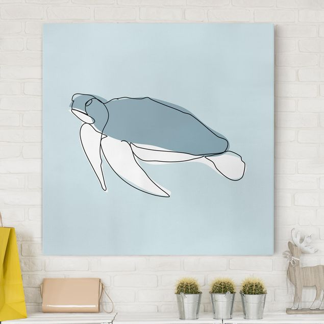 Leinwandbild - Schildkröte Line Art - Quadrat 1:1