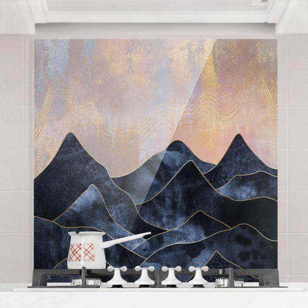Glas Spritzschutz - Goldene Dämmerung über Gebirge - Quadrat - 1:1