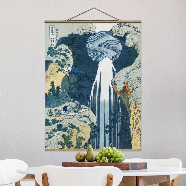 Stoffbild mit Posterleisten - Katsushika Hokusai - Der Wasserfall von Amida - Hochformat 3:4