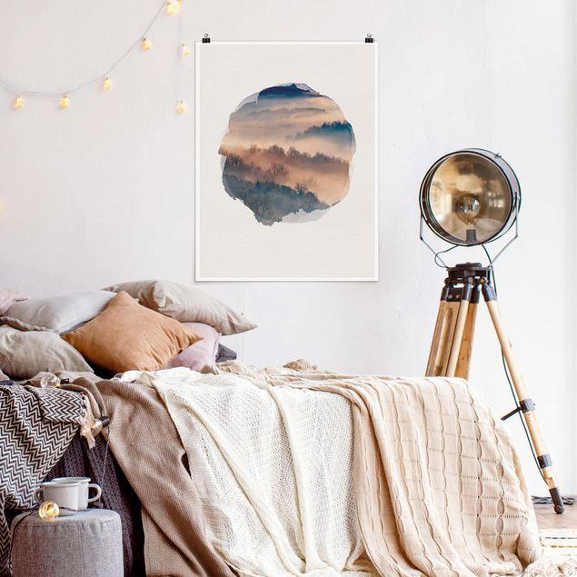 Poster - Wasserfarben - Nebel bei Sonnenuntergang - Hochformat 4:3