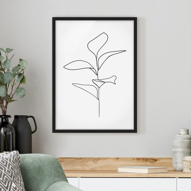 Bild mit Rahmen - Line Art Pflanze Blätter Schwarz Weiß - Hochformat 4:3