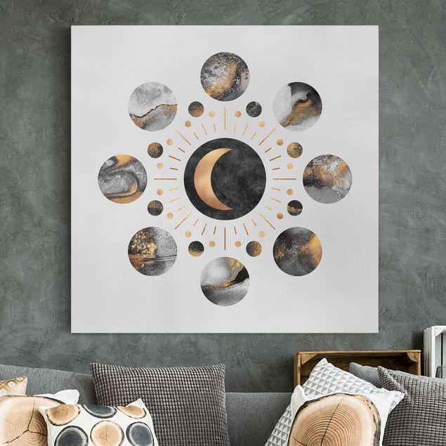 Leinwandbild - Mondphasen Abstrakt Gold - Quadrat 1:1