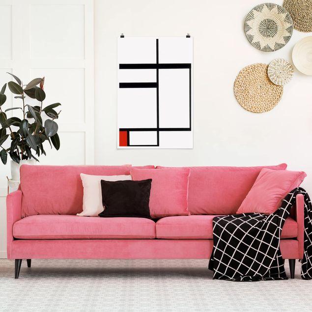 Poster - Piet Mondrian - Komposition Rot Schwarz Weiß - Hochformat 3:2