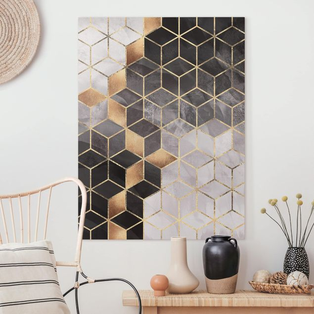 Leinwandbild - Schwarz Weiß goldene Geometrie - Hochformat 4:3