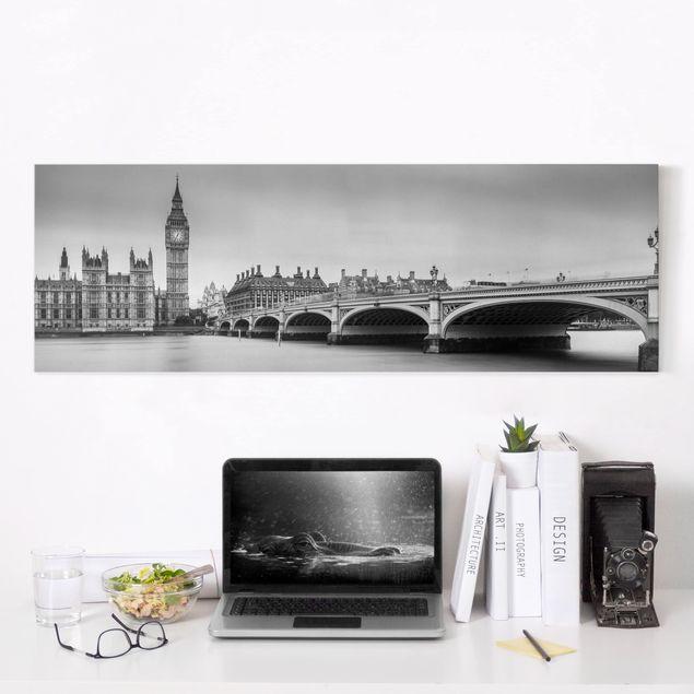 Leinwandbild - Westminster Brücke und Big Ben - Panorama 1:3