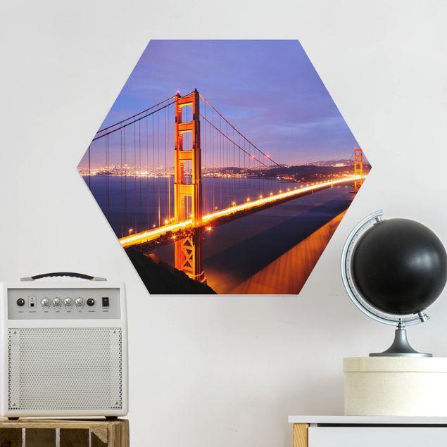 Hexagon Bild Alu-Dibond - Golden Gate Bridge bei Nacht
