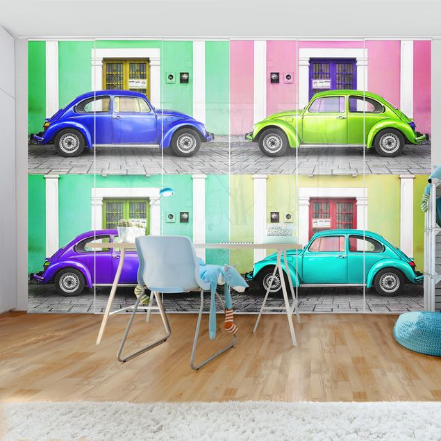 Schiebegardinen Set - Farbige Beetles - Flächenvorhänge