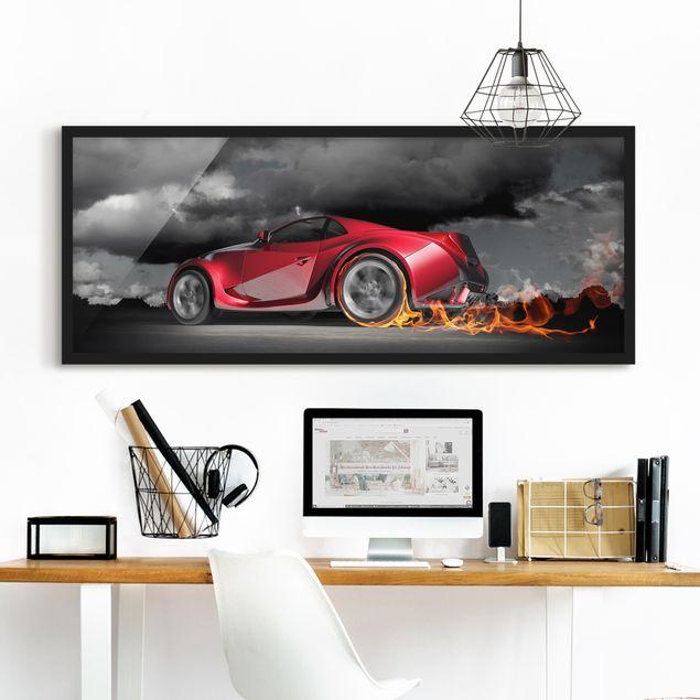 Bild mit Rahmen - Flammende Leidenschaft - Panorama Querformat