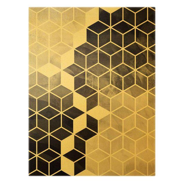 Leinwandbild Gold - Goldene Geometrie - Schwarz Weiß - Hochformat 3:4
