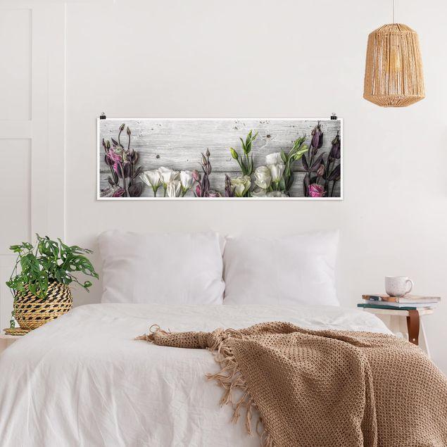 Poster - Tulpen-Rose Shabby Holzoptik - Panorama Querformat