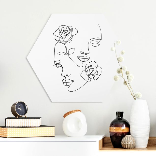 Hexagon Bild Forex - Line Art Gesichter Frauen Rosen Schwarz Weiß