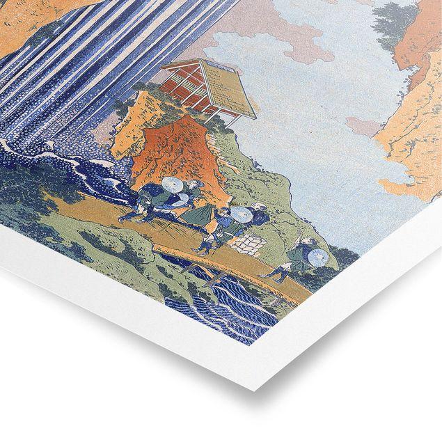 Poster - Katsushika Hokusai - Ono Wasserfall - Hochformat 3:2