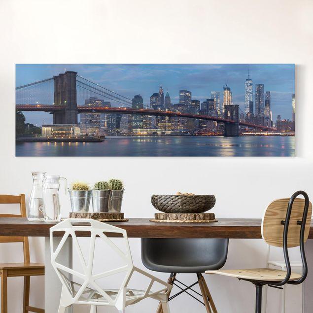 Leinwandbild - Brooklyn Bridge Manhattan New York - Panorama 1:3