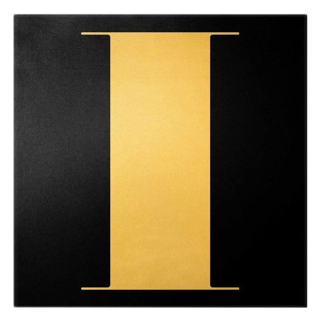 Leinwandbild Gold - Antiqua Letter I Schwarz - Quadrat 1:1
