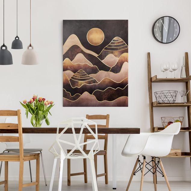 Leinwandbild - Goldene Sonne abstrakte Berge - Hochformat 4:3