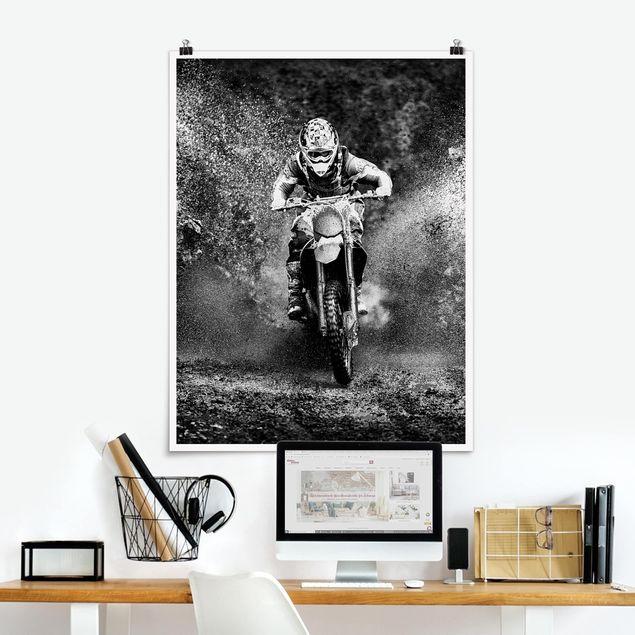 Poster - Motocross im Schlamm - Hochformat 3:4