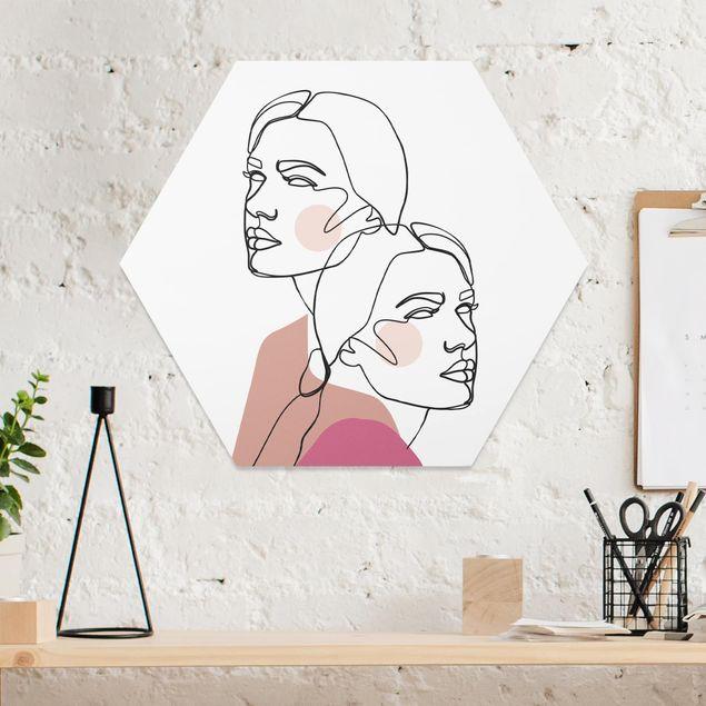 Hexagon Bild Forex - Line Art Frauen Portrait Wangen Rosa