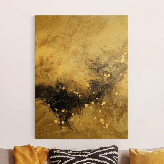 Leinwandbild Gold - Goldener Treibsand I - Hochformat 3:4