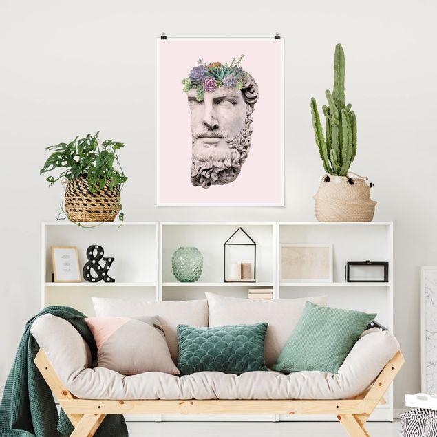 Poster - Jonas Loose - Kopf mit Sukkulenten - Hochformat 3:4