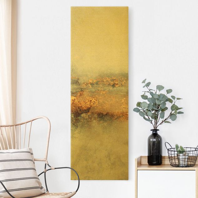 Leinwandbild Gold - Gold-Grauer Nebel - Hochformat 1:3