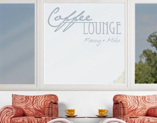 Fensterfolie - Sichtschutzfolie No.CA27 WunschText Coffee Lounge II - Milchglasfolie