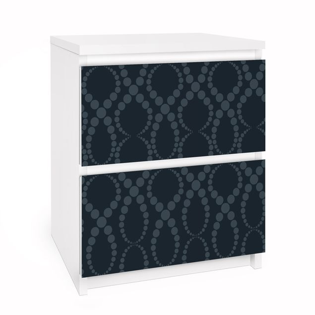 Möbelfolie für IKEA Malm Kommode - Selbstklebefolie Schwarze Perlen Ornament