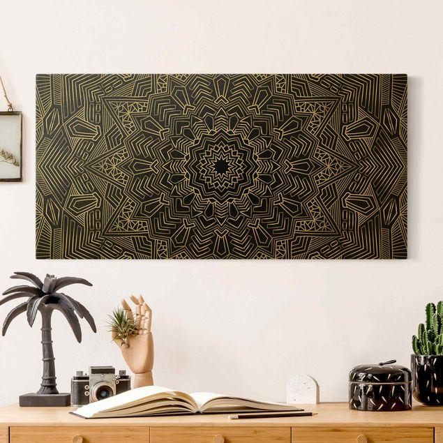 Leinwandbild Gold - Mandala Stern Muster silber schwarz - Querformat 2:1