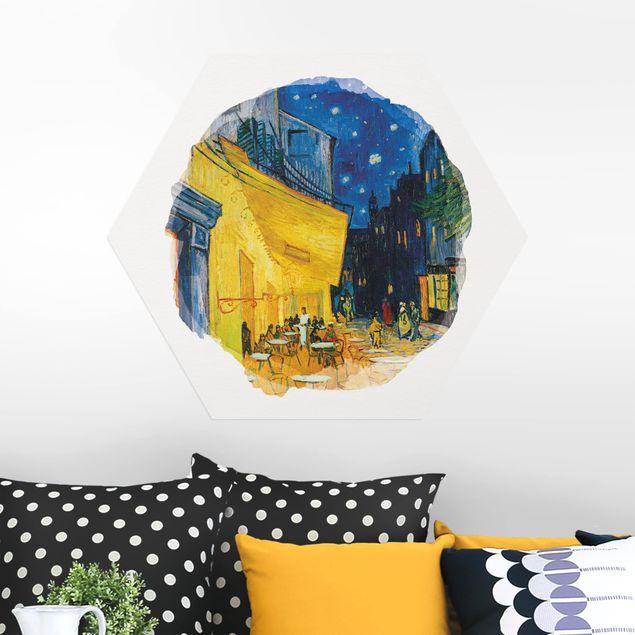 Hexagon Bild Alu-Dibond - Wasserfarben - Vincent van Gogh - Café-Terrasse in Arles