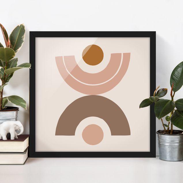 Bild mit Rahmen - Line Art Abstrakte Formen Pastell - Quadrat 1:1
