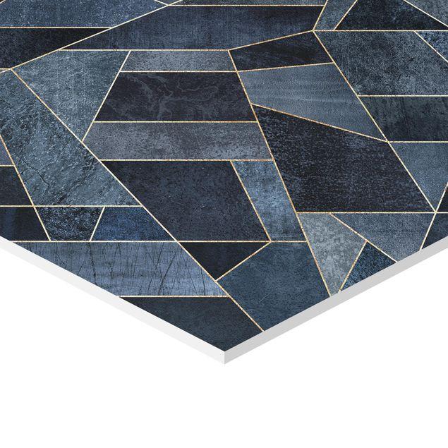 Hexagon Bild Forex - Blaue Geometrie Aquarell