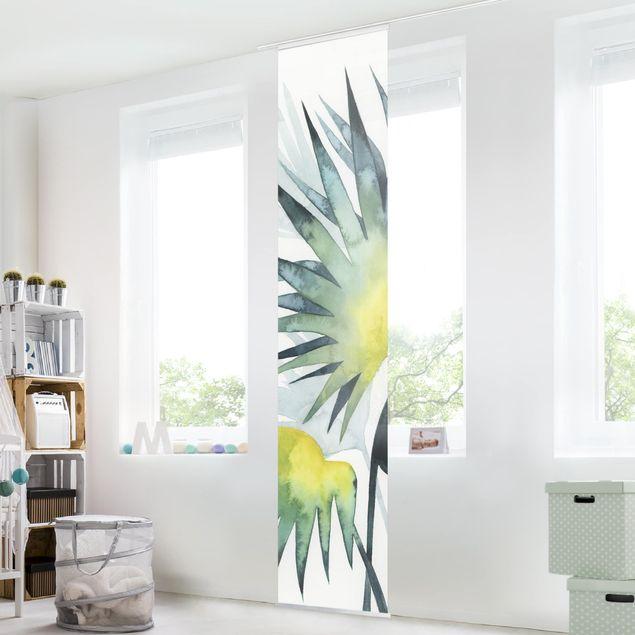 Schiebegardinen Set - Tropisches Blattwerk - Fächerpalme - Flächenvorhang